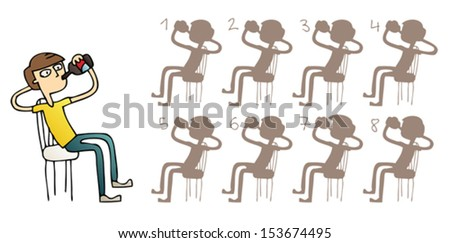 Boy Drinking Shadows Visual Game. Task: find the right shadow image! Answer: No. 3. Illustration is in eps8 vector mode! - stock vector