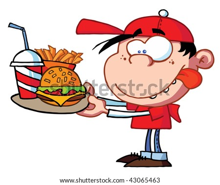 Boy Eating Fast Food - stock vector