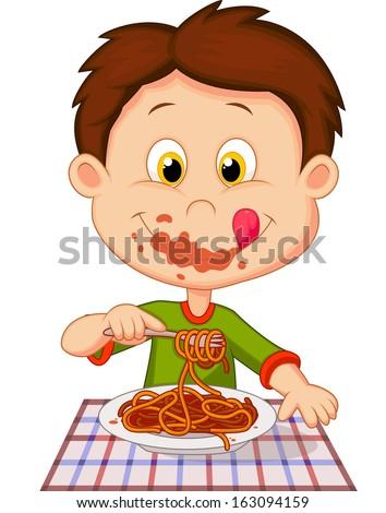 Boy eating spaghetti - stock vector