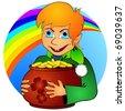 Boy elf and treasure - stock vector