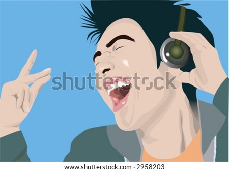 boy enjoying music - stock vector