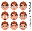 Boy Expressions. Funny cartoon and vector character. - stock vector