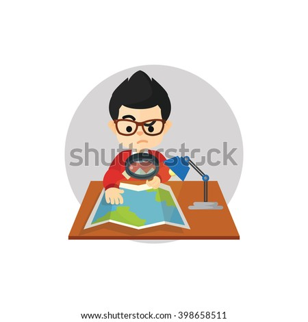 Boy find a place at map - stock vector