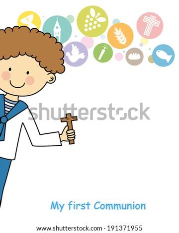 Boy first Communion Invitation Card - stock vector