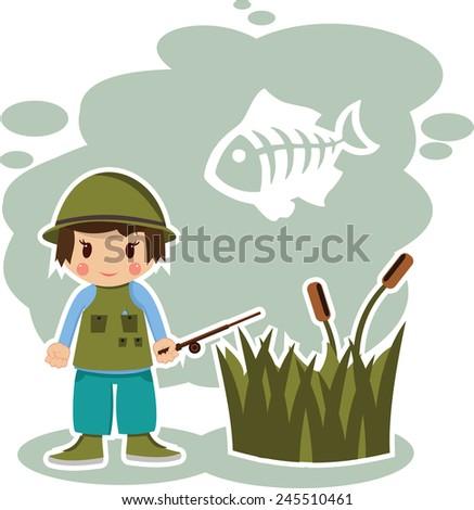 boy fisherman in vector format - stock vector