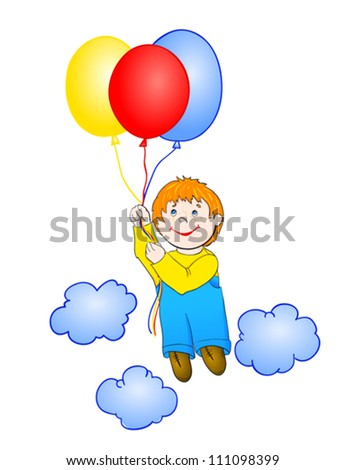 Boy flying a hot air balloon, with isolation on a white background - stock vector