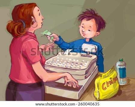 Boy for grocery. Grocery shopping. VECTOR. Great illustration for finance magazine, children book and more. - stock vector