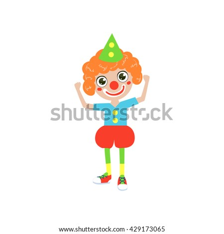 Boy Future Clown Simple Design Illustration In Cute Fun Cartoon Style Isolated On White Background - stock vector