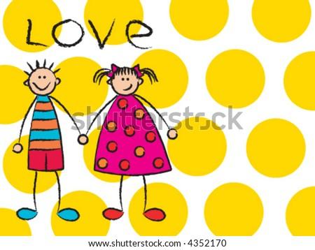boy + girl = love on yellow (vector) - cartoon illustration - stock vector