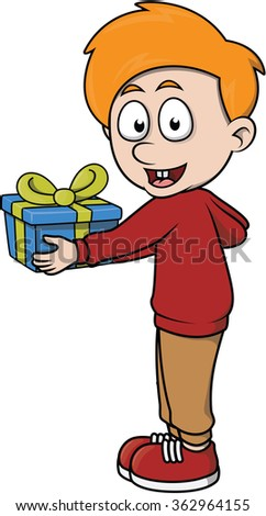 Boy give a gift cartoon illustration - stock vector
