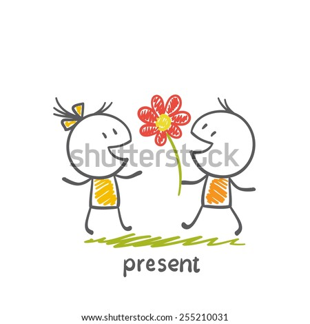 boy gives a girl a flower illustration - stock vector