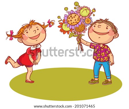Boy gives the flower to Little Girl. Summer activities. Children illustration for School books, magazines, advertising and more. Separate Objects. VECTOR. - stock vector