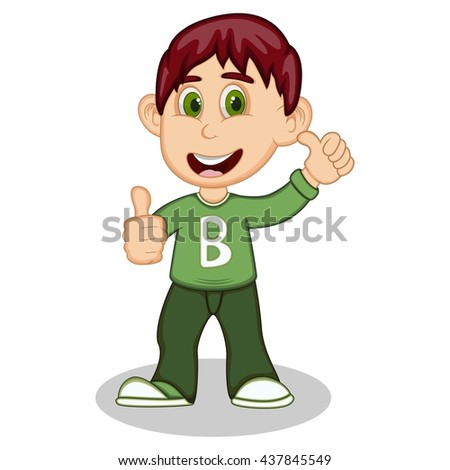 Boy gives thumbs up wearing green long sleeve sweater and dark green trousers cartoon vector illustration - stock vector