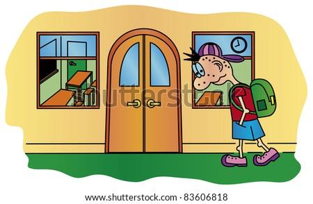Boy going to school - vector - stock vector