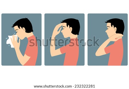Boy got cold. Three vector image of a boy complaining about headache, sore throat and cold. Each image shows symptoms of a cold  - stock vector