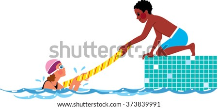 pool noodle clipart. boy handing a girl pool noodle to grab on swimming rules kid clipart d