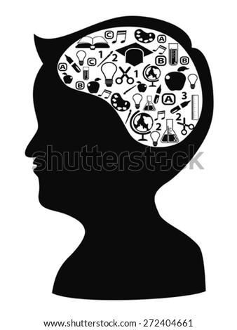 boy head shape with creative idea icons - stock vector