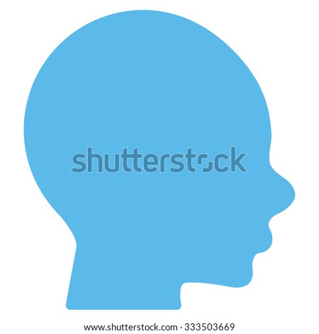 Boy Head vector icon. Style is flat symbol, blue color, rounded angles, white background.