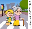 Boy helping old lady cross the street. - stock vector