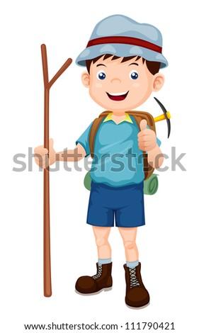 Boy Hiking vector illustration - stock vector