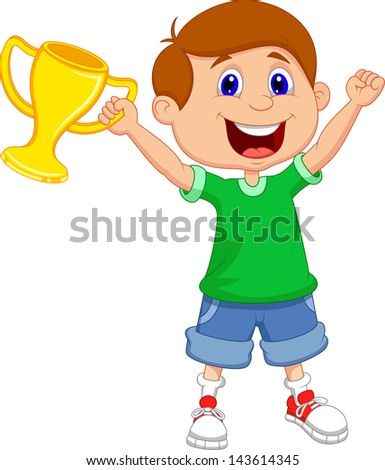 Boy holding gold trophy - stock vector