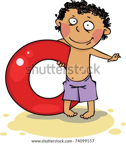 Boy holding inflatable ring - stock vector