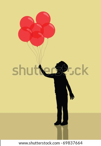 boy holding red balloons. silhouette - stock vector