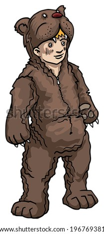 boy in a bear costume, vector illustration - stock vector