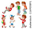 Boy in different poses and expressions.  Vector isolated characters. - stock vector