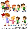 Boy in green shirt doing different activities illustration - stock vector