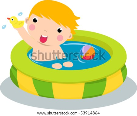 Boy in inflatable pool - stock vector