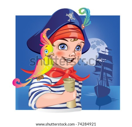 Boy in pirate costume with parrot - stock vector