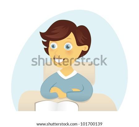 Boy in school - stock vector