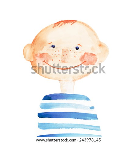 boy in the striped t-shirt. watercolor. vector  - stock vector