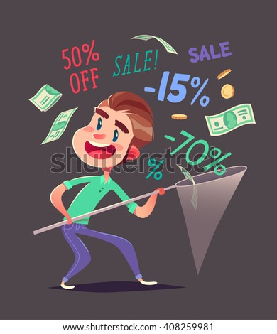 Boy is catching discounts.Vector illustration. - stock vector