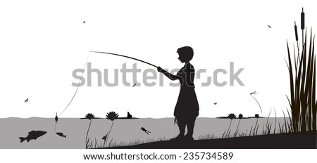 boy is fishing in the river standing in the water, shadows, vector, - stock vector