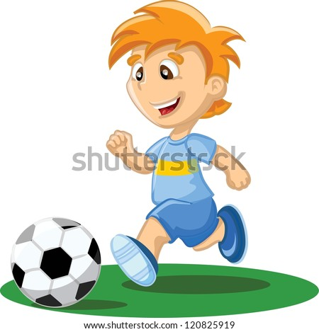 Boy is playing football - stock vector
