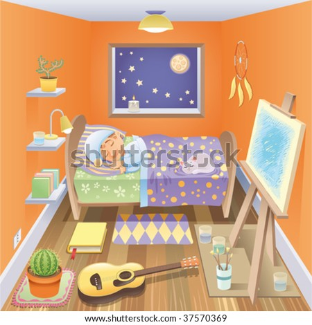Boy is sleeping in his bedroom. Funny cartoon and vector scene, isolated objects - stock vector