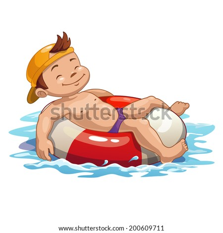 Boy is swimming on the pool ring - stock vector