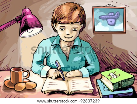 Boy is writing something in his textbook. - stock vector