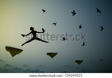 peter pan shadow boy jumping and holding pigeons fly in the dream land bird man