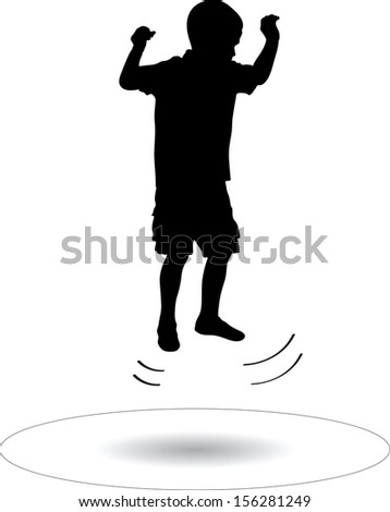 boy jumping on the trampoline silhouette vector illustration - stock vector