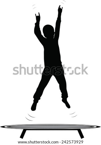 boy jumping trampoline silhouette vector - stock vector