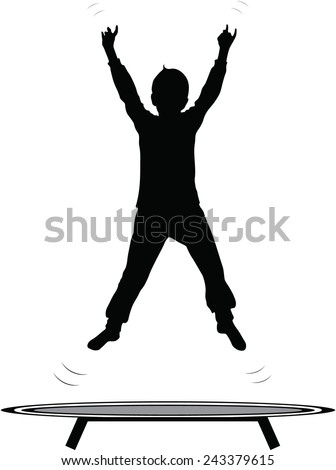 boy jumping trampoline vector silhouette isolated on white - stock vector