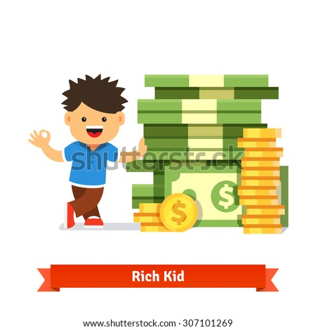 Boy kid standing and leaning to a huge pile of money. Stacked dollar bills and coins. Children savings and finance concept. Flat style cartoon vector illustration isolated on white background. - stock vector