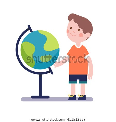 Boy learning geography with earth terrestrial globe. Kid character. Modern flat vector illustration clipart. - stock vector