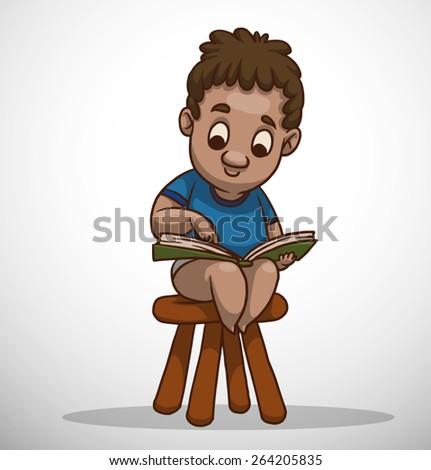 Boy learning, vector  - stock vector