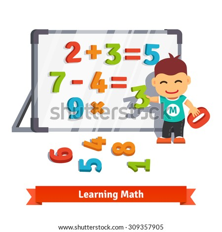Boy learns math doing addition, subtraction and multiplication with plastic numbers on a magnet board. Flat style cartoon vector illustration isolated on white background. - stock vector