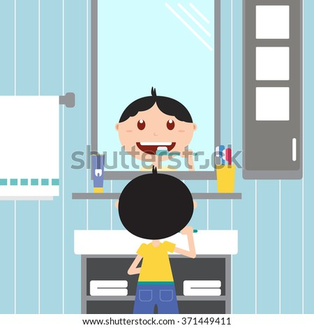 boy looking at the mirror and brushing him teeth in the bathroom. Happy baby with healthy teeth, toothpaste and toothbrush.Vector flat  illustrations. - stock vector