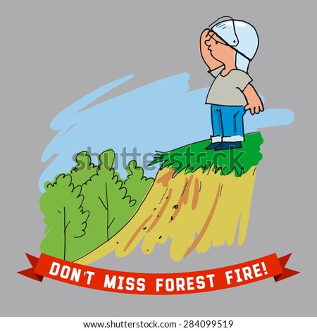 Boy looks out for forest fire - stock vector